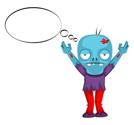 Zombie thinking, illustration, vector on white background.