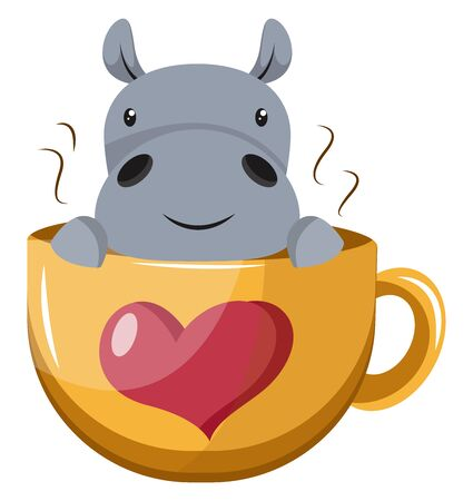 Hippo in cup, illustration, vector on white background.