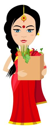 Indian woman with food , illustration, vector on white background.