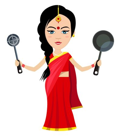 Indian woman with pan , illustration, vector on white background.