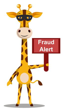 Giraffe with fraud alert sign, illustration, vector on white background.