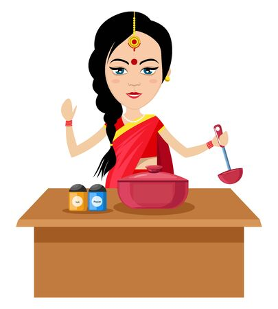 Indian woman cooking , illustration, vector on white background. Çizim