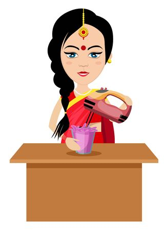 Indian woman mixing , illustration, vector on white background.