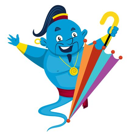 Genie with umbrella, illustration, vector on white background.