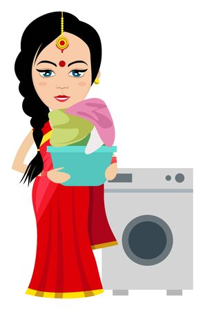 Indian woman with washing machine , illustration, vector on white background.