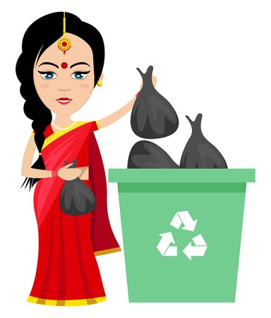 Indian woman taking trash out , illustration, vector on white background.