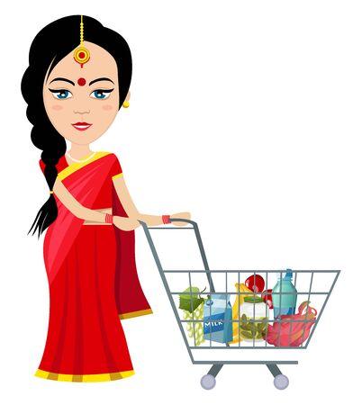 Indian woman shopping , illustration, vector on white background. Ilustracja