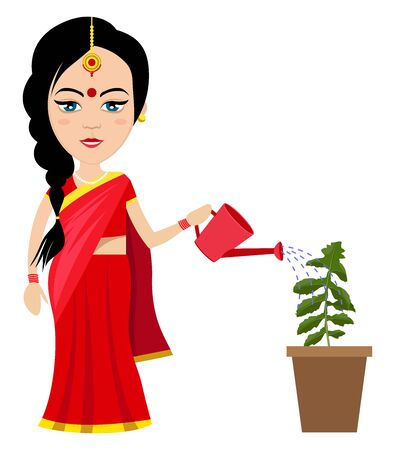 Indian woman watering plant , illustration, vector on white background.