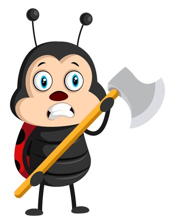 Lady bug with axe, illustration, vector on white background.