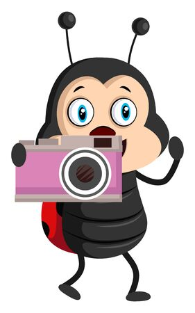Lady bug with camera, illustration, vector on white background.