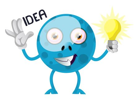 Blue monster with idea, illustration, vector on white background. Иллюстрация