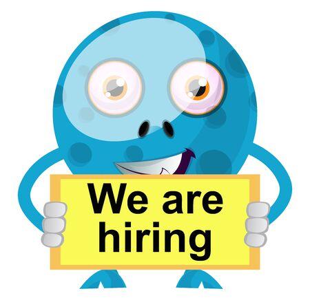 Blue monster hiring, illustration, vector on white background. Ilustrace