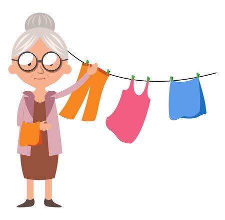 Granny with clothes, illustration, vector on white background. Illusztráció
