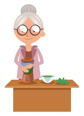 Granny mixing food, illustration, vector on white background.