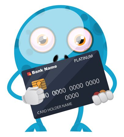 Blue monster with credit card, illustration, vector on white background.