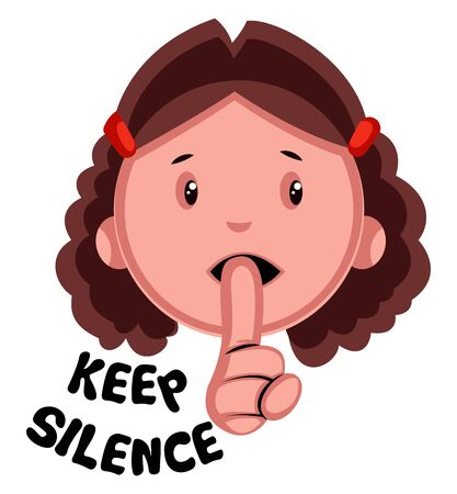 Keep silence girl emoji, illustration, vector on white background.