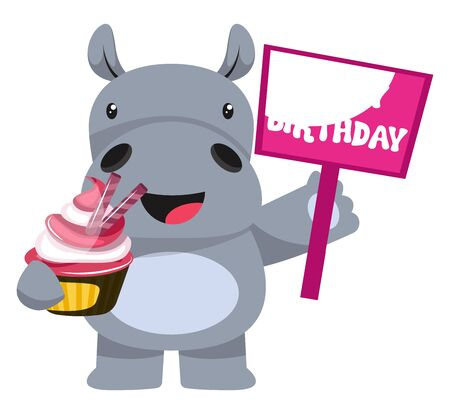 Hippo with cake, illustration, vector on white background.