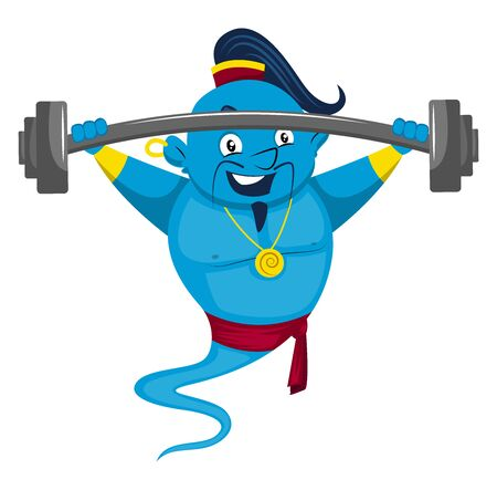 Genie lifting weights, illustration, vector on white background.