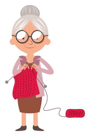Granny doing knitwork, illustration, vector on white background.