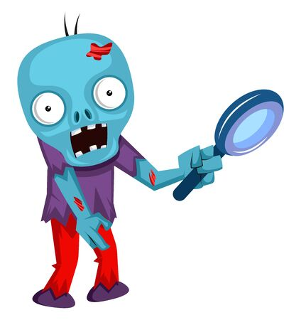 Zombie with magnifying glass, illustration, vector on white background. 向量圖像