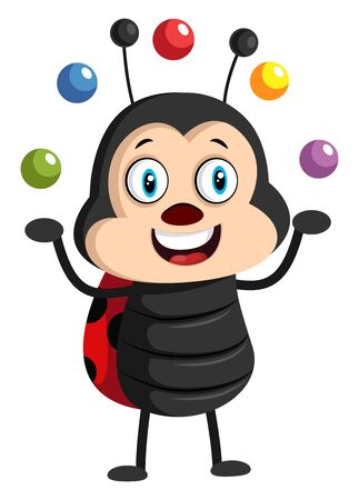 Lady bug with juggling balls, illustration, vector on white background.
