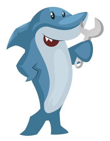 Shark with wrench, illustration, vector on white background.