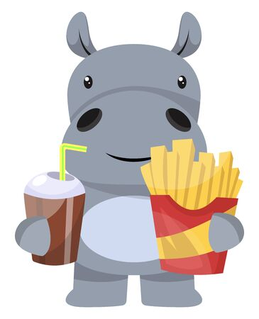 Hippo with french fries, illustration, vector on white background.