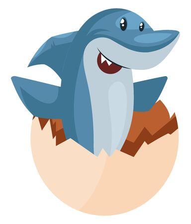 Shark in egg shell, illustration, vector on white background.