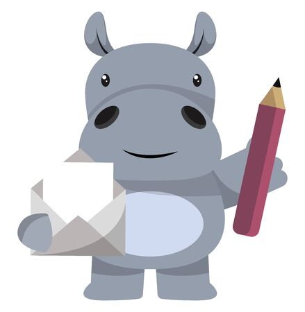 Hippo with envelope and pen, illustration, vector on white background.