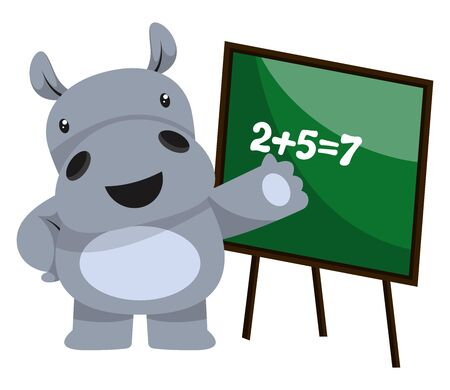 Hippo doing math, illustration, vector on white background.