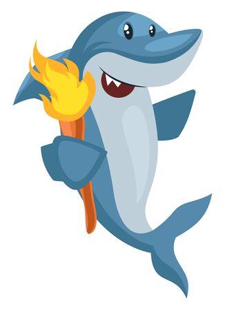 Shark with torch, illustration, vector on white background. Ilustração