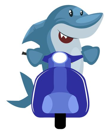 Shark on blue scooter, illustration, vector on white background.