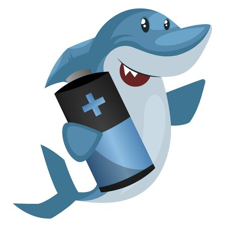 Shark with battery, illustration, vector on white background. Stok Fotoğraf - 132734551