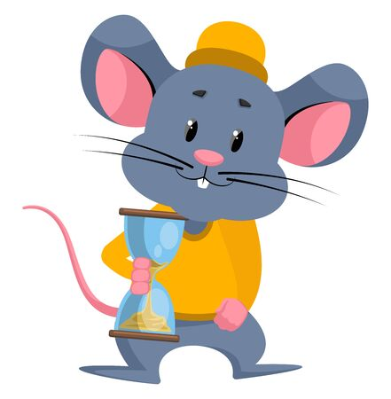 Mouse with sand clock, illustration, vector on white background.