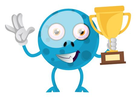 Blue monster with trophy, illustration, vector on white background.