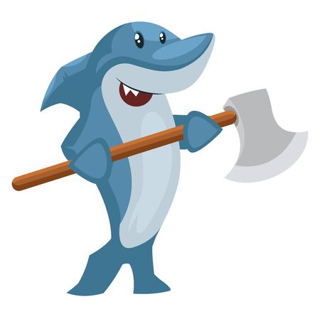 Shark with big axe, illustration, vector on white background.