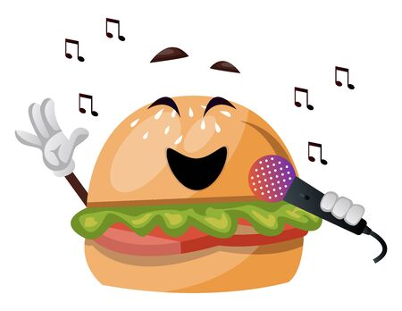 Burger with microphone, illustration, vector on white background.