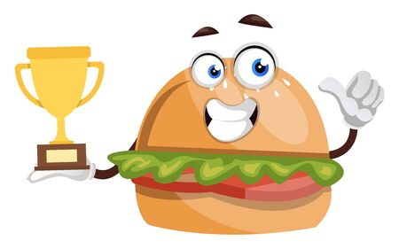 Burger with trophy, illustration, vector on white background. Ilustração