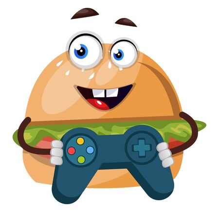 Burger with gamepad, illustration, vector on white background.