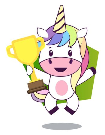 Unicorn with trophy, illustration, vector on white background. 向量圖像