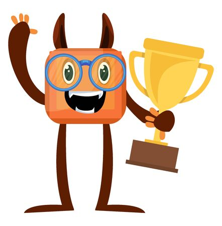 Monster with trophy, illustration, vector on white background. Иллюстрация