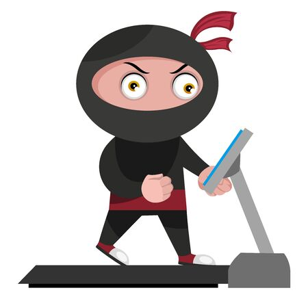 Ninja with treadmill, illustration, vector on white background.