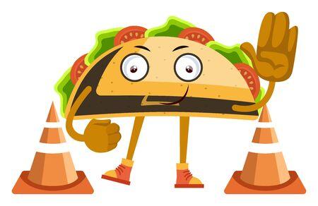 Taco saying stop, illustration, vector on white background. Ilustrace