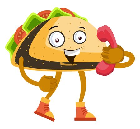 Taco with red telephone, illustration, vector on white background. Vectores