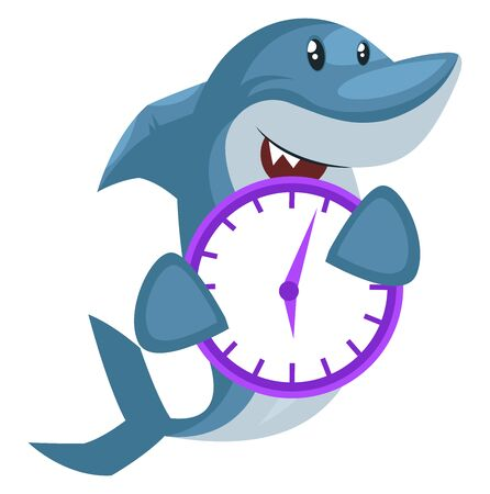 Shark with purple clock, illustration, vector on white background.