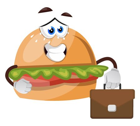 Burger with suitcase, illustration, vector on white background.