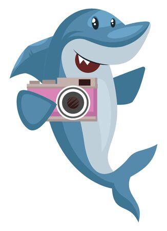 Requin avec appareil photo, illustration, vecteur sur fond blanc.