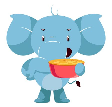 Elephant with snacks, illustration, vector on white background. Ilustração