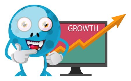 Blue monster have growth, illustration, vector on white background.
