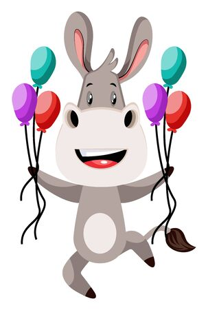 Donkey with balloons, illustration, vector on white background.